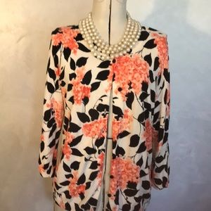 Talbots Coral Floral Lightweight Summer Cardigan